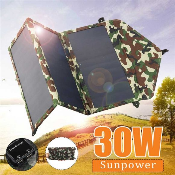 New-Folding-50W-Solar-Panels-5V-Waterproof-Sun-Power-Solar-Cells-Charger-Double-USB-Output-Devices