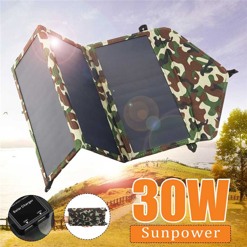 30W 5V Foldable Solar Panel Kit 10-in-1 USB Charger for Outdoor Travel Camping G