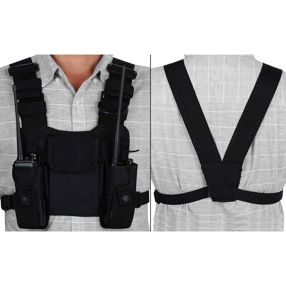 Walkie-Talkie Chest Pack,Three-Ring Adjustment Strap Walkie-Talkie Carrying Case Vest Holder with Tools Assistant Liberate Your Hands Chest Bag for Walkie-Talkie.